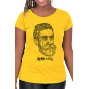 Camiseta Amarela Rostos Letrados: Machado de Assis