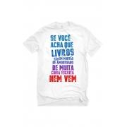 Camiseta Branca Bloco do montão de coisa escrita