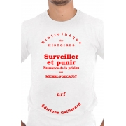 Camiseta Branca Capa de livro Vigiar e Punir