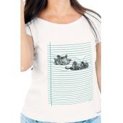 Camiseta Branca Gato Pautado
