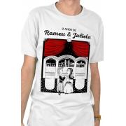 Camiseta Branca O Amor em Cordel: Romeu e Julieta