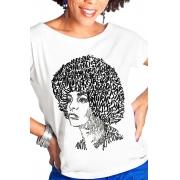 Camiseta Branca Rostos Letrados: Angela Davis