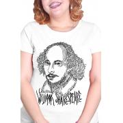 Camiseta Branca Rostos Letrados: William Shakespeare