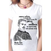 Camiseta Branca Tesla, pai da eletricidade