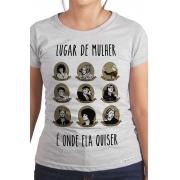 Camiseta Cinza Lugar de Mulher