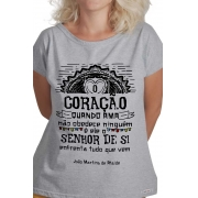 Camiseta Cinza O Amor em Cordel: Martins de Ataíde