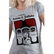 Camiseta Cinza O Amor em Cordel: Romeu e Julieta