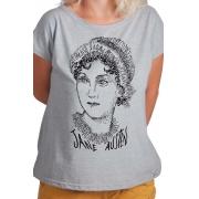 Camiseta Cinza Rostos Letrados: Jane Austen