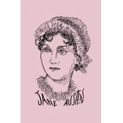 Camiseta Rosa Rostos Letrados: Jane Austen