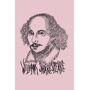 Camiseta Rosa Rostos Letrados: William Shakespeare