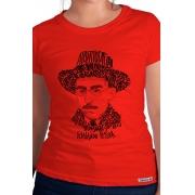 Camiseta Vermelha Rostos Letrados: Fernando Pessoa