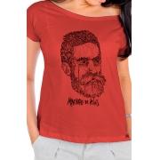Camiseta Vermelha Rostos Letrados: Machado de Assis