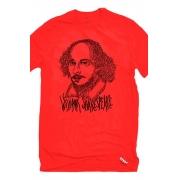 Camiseta Vermelha Rostos Letrados: William Shakespeare