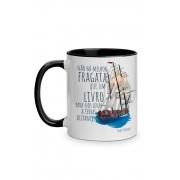 Caneca Fragata literária: Emily Dickinson com alça preta