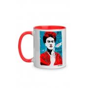 Caneca Frida Kahlo com alça vermelha