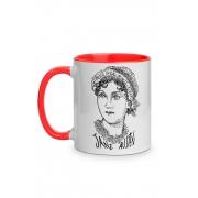 Caneca Rostos Letrados: Jane Austen com alça vermelha
