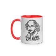 Caneca Rostos Letrados: William Shakespeare com alça vermelha