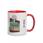 Caneca Trabalhadores do Mundo de Karl Marx com alça vermelha