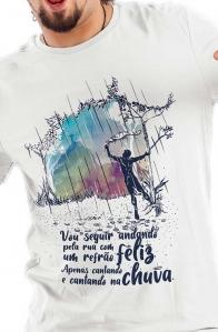 Camiseta Branca Cantando na chuva