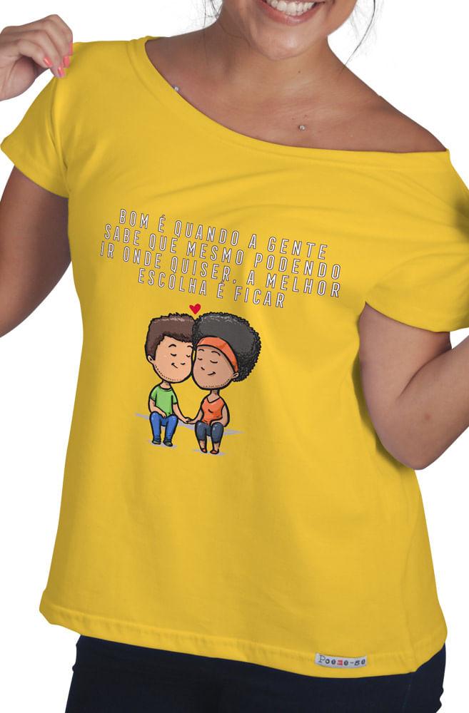 Camiseta Amarela  Melhor é ficar
