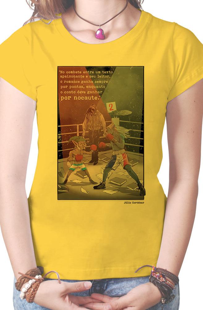 Camiseta Amarela Romance Versus Conto