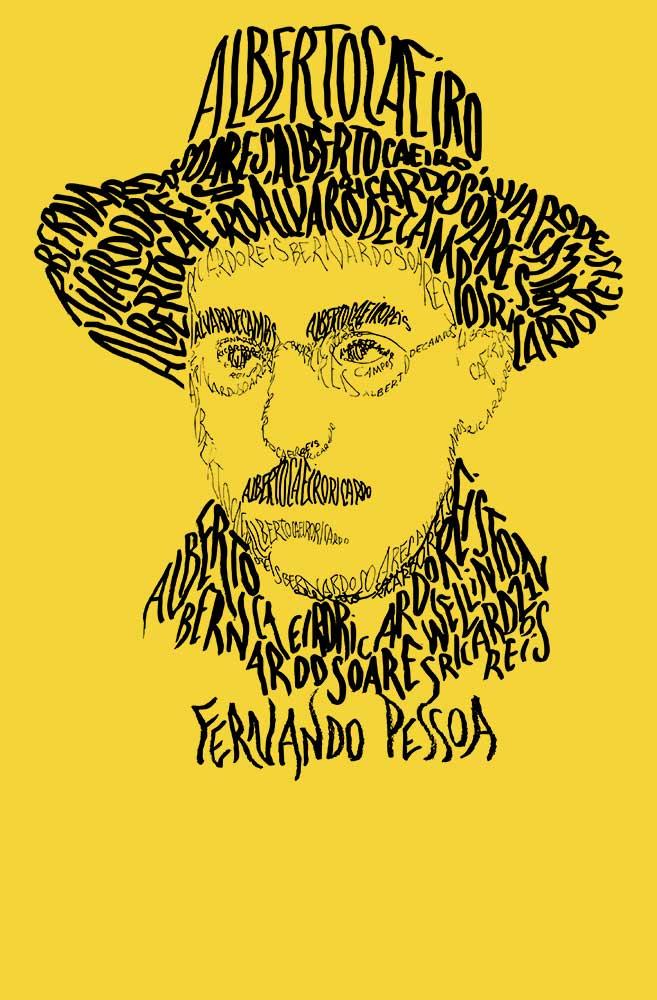 Camiseta Amarela Rostos Letrados: Fernando Pessoa