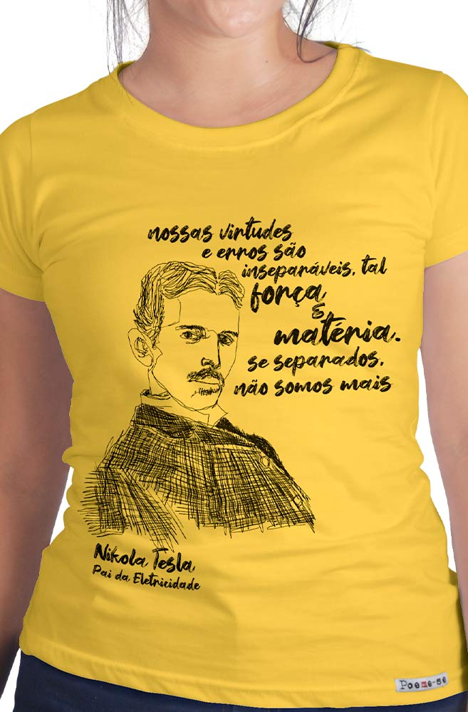 Camiseta Amarela Tesla, pai da eletricidade