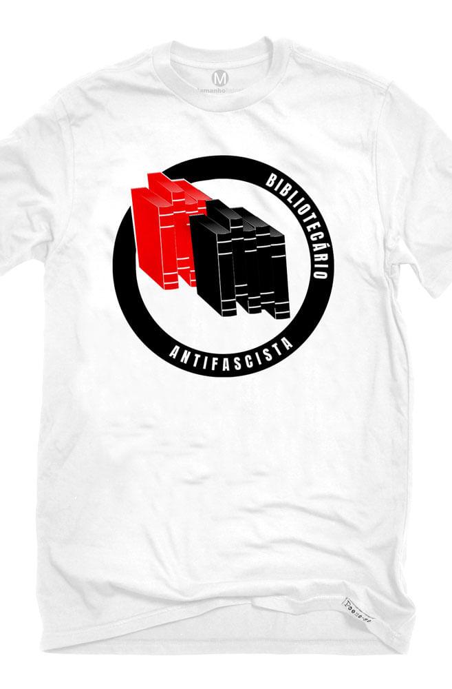 Camiseta Branca Bibliotecário Antifascista