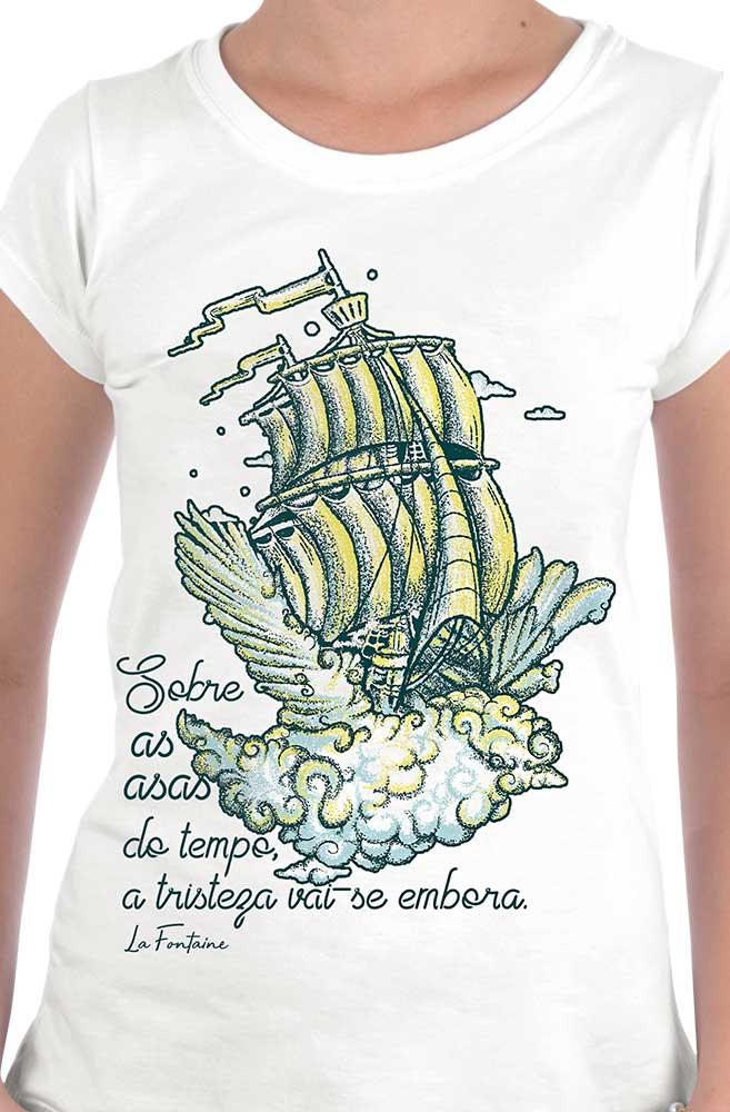 Camiseta Branca Bye Bye Tristeza