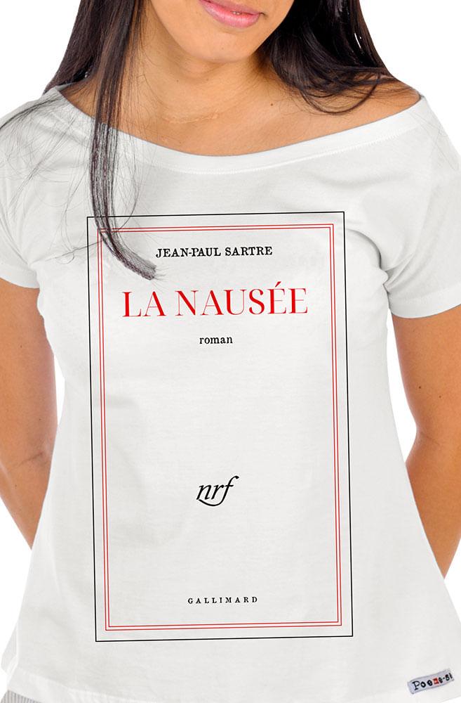 Camiseta Branca Capa de livro A Náusea
