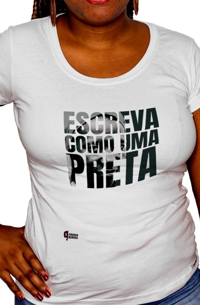 Camiseta Branca Escreva como uma Preta