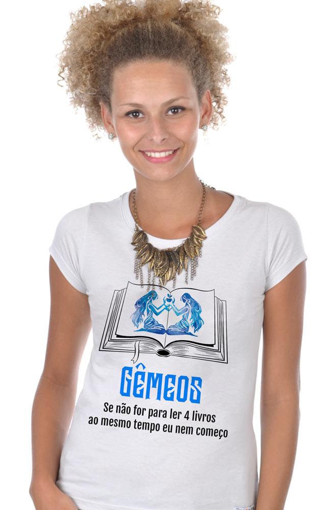 Camiseta Branca Geminiano leitores