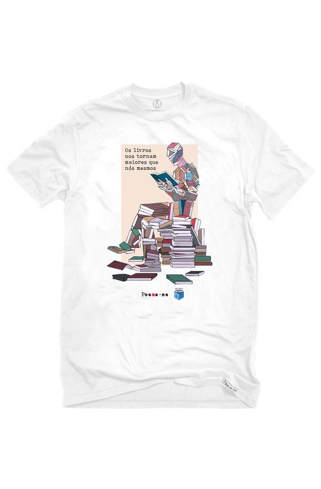 Camiseta Branca Livros Nos Tornam Maiores