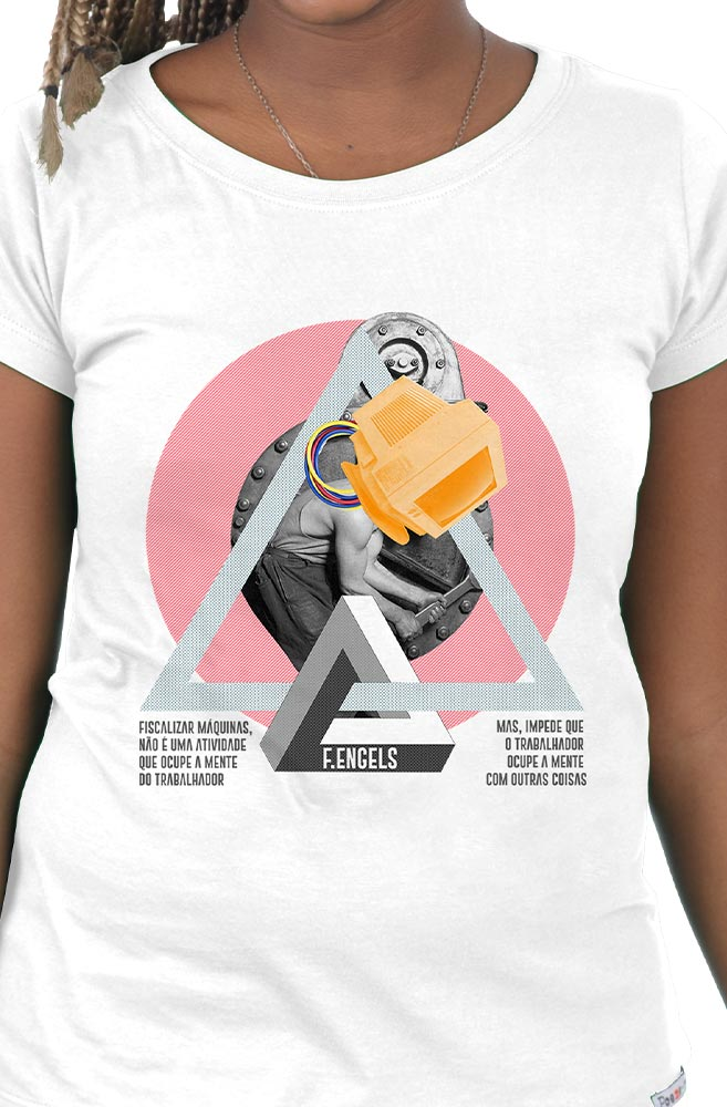 Camiseta Branca Máquinas de Friedrich Engels
