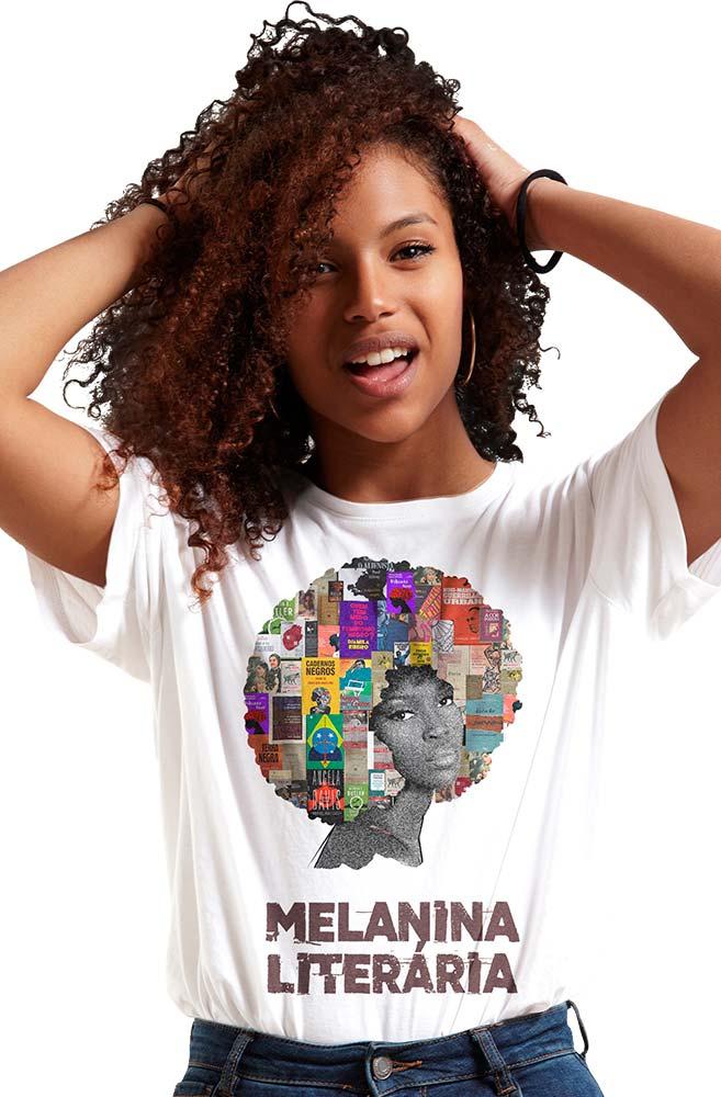 Camiseta Branca Melanina Literária