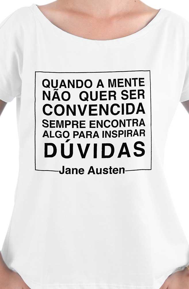 Camiseta Branca Negacionismo por Jane Austen