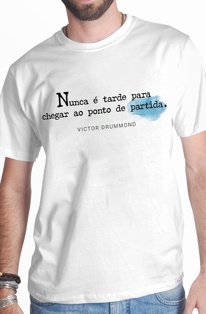 Camiseta Branca Nunca é tarde