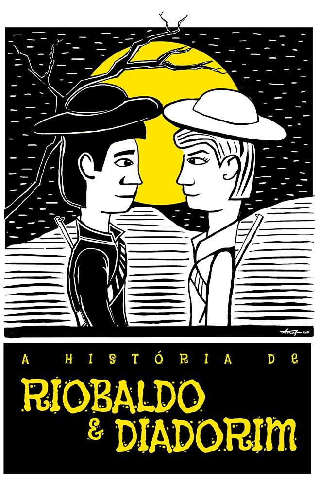 Camiseta Branca O Amor em Cordel: Riobaldo e Diadorim