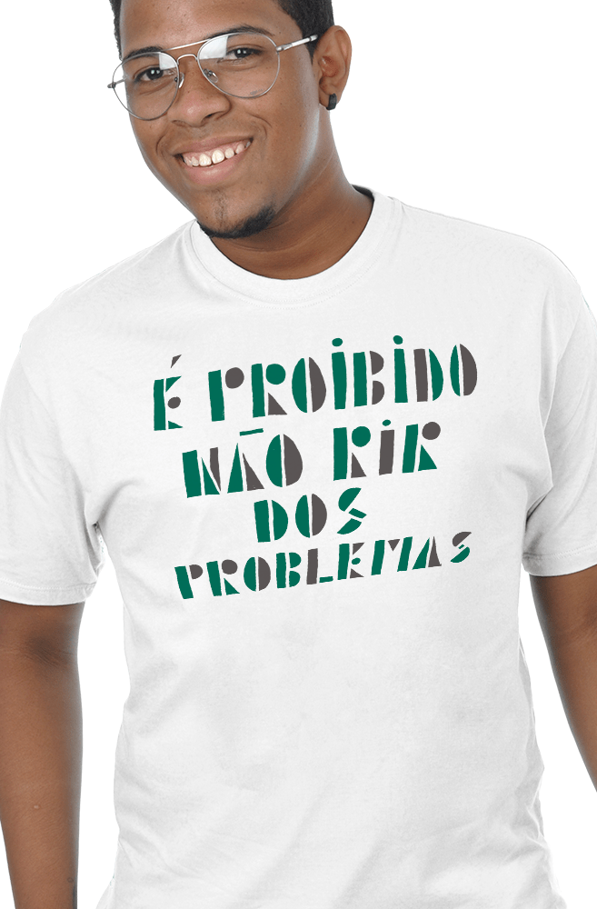 Camiseta Branca Proibido não rir