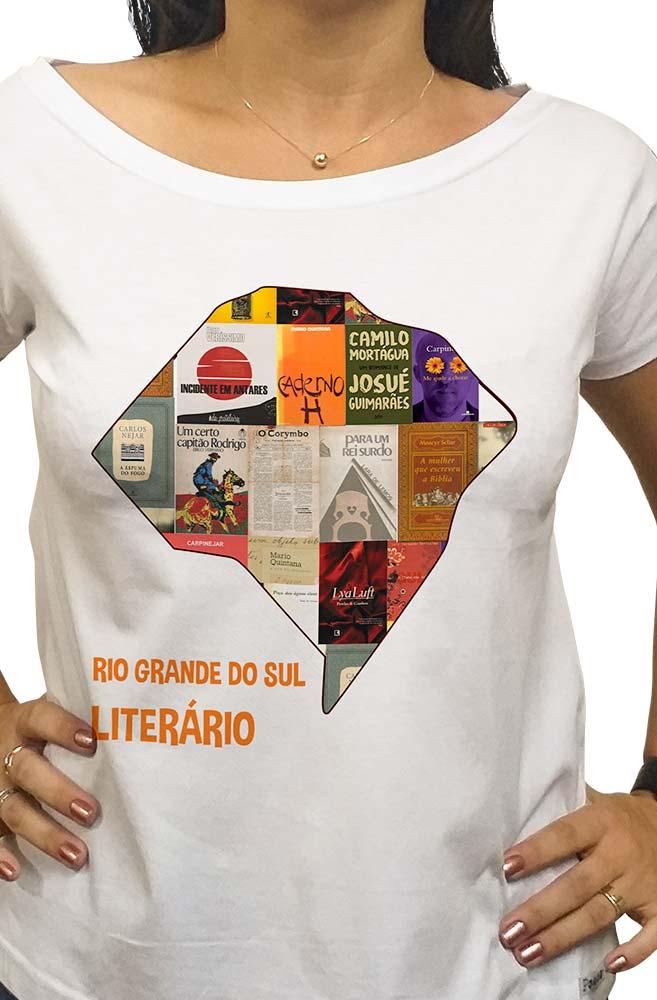 Camiseta Branca Rio Grande do Sul Literário