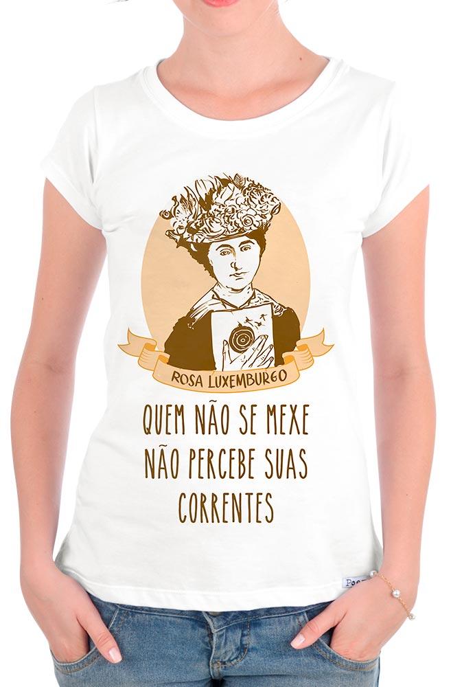 Camiseta Branca Rosa Luxemburgo Feminista