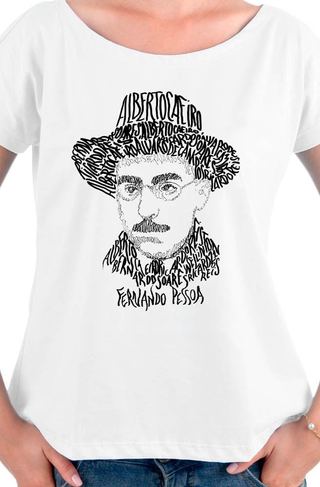 Camiseta Branca Rostos Letrados: Fernando Pessoa