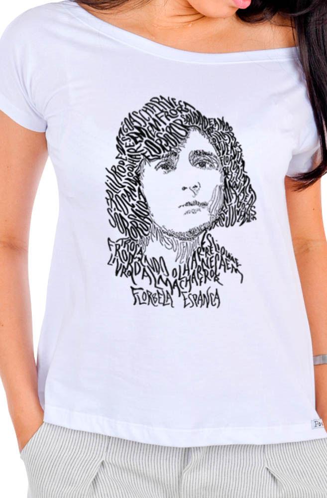 Camiseta Branca Rostos Letrados: Florbela Espanca