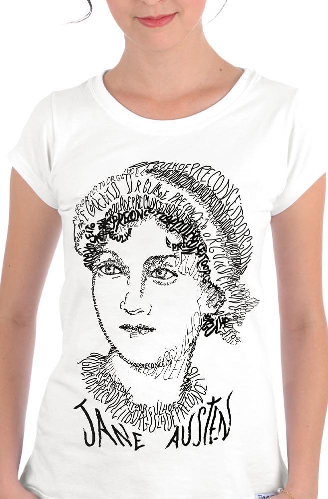 Camiseta Branca Rostos Letrados: Jane Austen