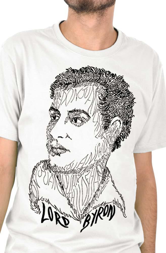 Camiseta Branca Rostos Letrados: Lord Byron
