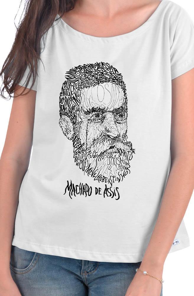 Camiseta Branca Rostos Letrados: Machado de Assis