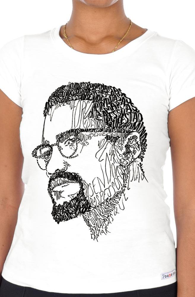 Camiseta Branca Rostos Letrados: Malcolm X