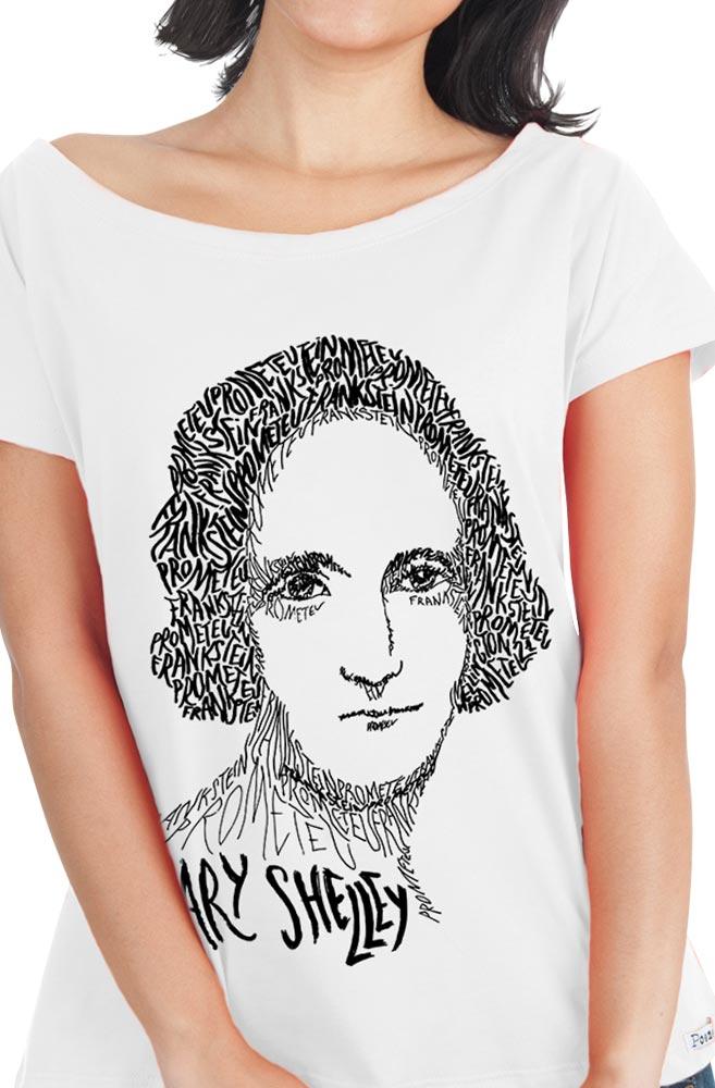 Camiseta Branca Rostos Letrados: Mary Shelley