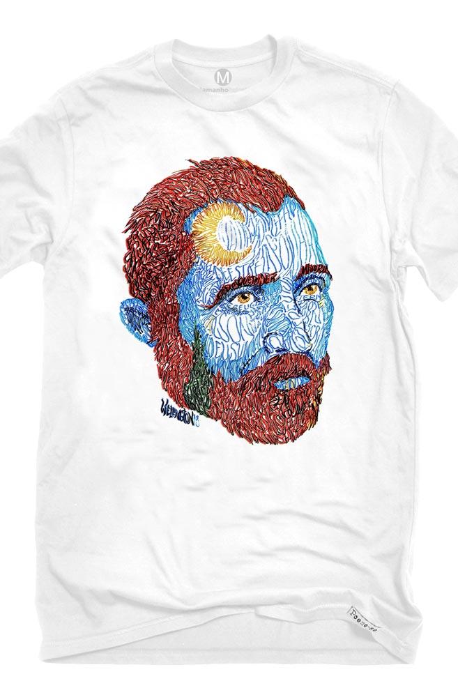 Camiseta Branca Rostos Letrados: Van Gogh
