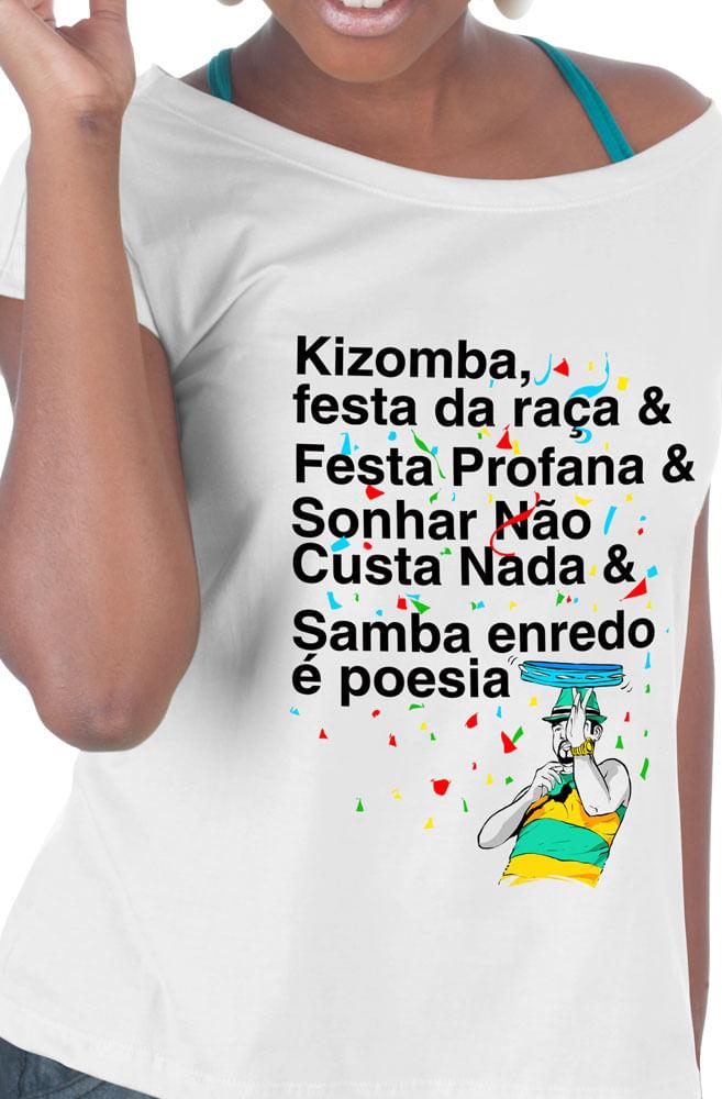 Camiseta Branca Samba enredo é poesia